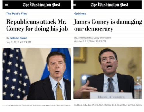 Opinionating: E Che tuashington post Chee washington post  The Post's View  Opinions  Republicans attack Mr  James Comey is damaging  Comey for doing his job our democracy  By Jamie Gorelick, Larry Thompson  By Editorial Board  October 29, 2016 at 11:29 PM  July 6, 2016 at 7:29 PM  In this uly 1A 2016 file photo ERI Director lames Com