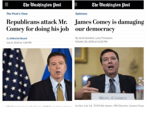 Opinionating: E Che Washington Post Che Washington post  Opinions  The Post's View  Republicans attack Mr. James Comey is damaging  Comey for doing his job our democracy  By Editorial Board  By Jamie Gorelick, Larry Thompson  October 29, 2016 at 11:29 PM  July 6, 2016 at 7:29 PM  In this july 1A 2016 file photo EAI Director lames Com