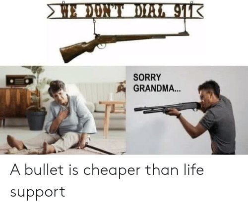 Grandma, Life, and Reddit: E DONT DIAL 91K  SORRY  GRANDMA... A bullet is cheaper than life support