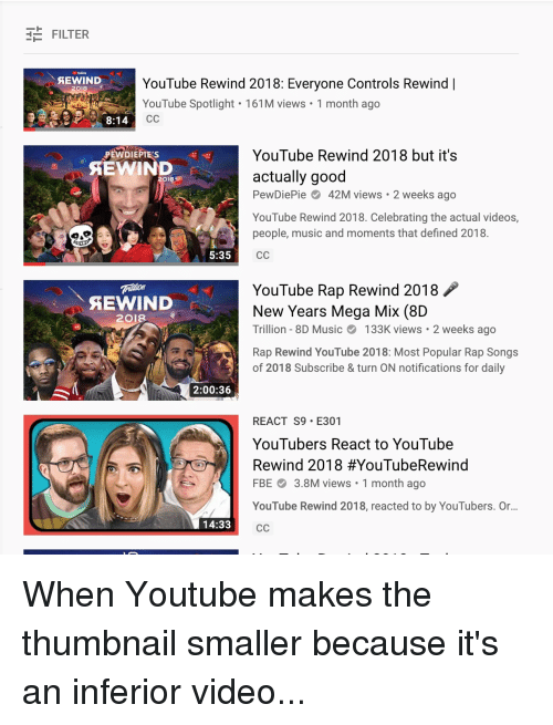Music, Rap, and Videos: E FILTER  YouTube Rewind 2018: Everyone Controls Rewind |  YouTube Spotlight 161M views 1 month ago  2018  8:14  YouTube Rewind 2018 but it's  actually good  PewDiePie42M views 2 weeks ago  YouTube Rewind 2018. Celebrating the actual videos,  people, music and moments that defined 2018.  PEWDIEPIES  SEWIND  5:35  YouTube Rap Rewind 2018  New Years Mega Mix (8D  Trillion- 8D Music133K views 2 weeks ago  Rap Rewind YouTube 2018: Most Popular Rap Songs  of 2018 Subscribe & turn ON notifications for daily  AEWIND  2018  2:00:36  REACT S9 E301  YouTubers React to YouTube  Rewind 2018 #YouTubeRewind  FBE3.8M views 1 month ago  YouTube Rewind 2018, reacted to by YouTubers. Or...  14:33