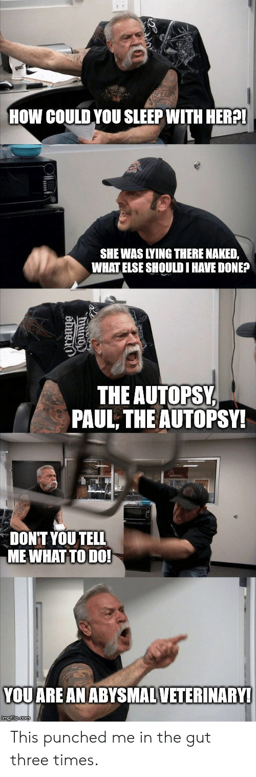 Naked, Lying, and Sleep: E  HOW COULD YOU SLEEP WITH HER?!  SHE WAS LYING THERE NAKED,  WHAT ELSE SHOULD I HAVE DONE?  THE AUTOPSY  PAUL, THE AUTOPSY!  DONT YOU TELL  MEWHAT TO DO!  YOU ARE AN ABYSMALVETERINARY!  imgflip.com  ama This punched me in the gut three times.