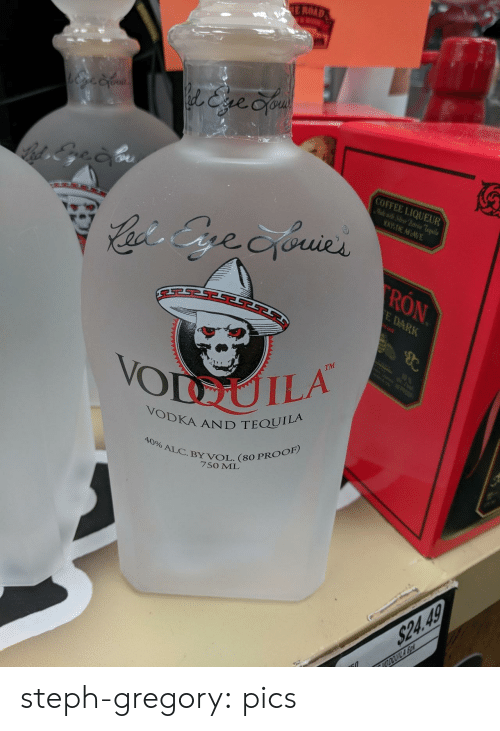 Poop, Tumblr, and Blog: E ROAD  l&ve Cyou  COFFEE LIQUEUR  Mlewit Sier Patrn Teila  WDE AGAVE  Cacis Gre cyouies  RON  E DARK  B  TM  10  VODUILA  POOP  VODKA AND TEQUILA  40% ALC.BY VOL. (80 PROOF)  7SO ML  $24.49  VODOUILA So steph-gregory:  pics