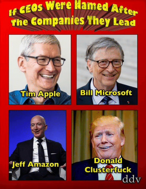 Amazon, Memes, and Microsoft: E W  The Companies they Lead  Hamed  A  fte  Tim Appe  Bill Microsoft  Donald  Clusterfuck  Jeff Amazon