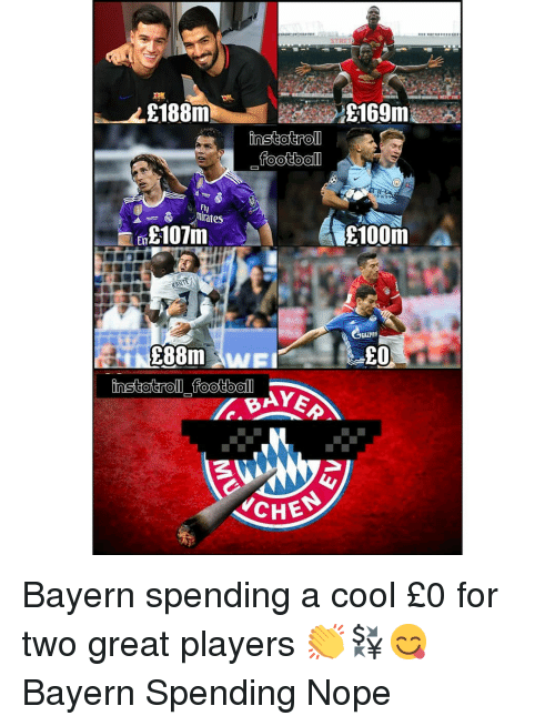 Memes, Cool, and Nope: E188m  Ely  nirates  100m  LO  CHE Bayern spending a cool £0 for two great players 👏💱😋 Bayern Spending Nope