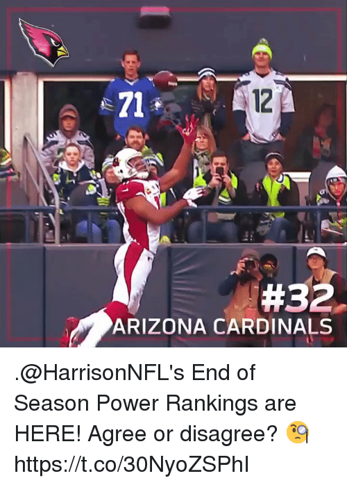 Arizona Cardinals, Memes, and Arizona: e71  12  #32.  ARIZONA CARDINALS .@HarrisonNFL's End of Season Power Rankings are HERE!   Agree or disagree? 🧐 https://t.co/30NyoZSPhI