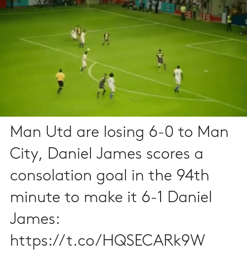 Soccer, Goal, and Man Utd: E9 Man Utd are losing 6-0 to Man City, Daniel James scores a consolation goal in the 94th minute to make it 6-1  Daniel James: https://t.co/HQSECARk9W