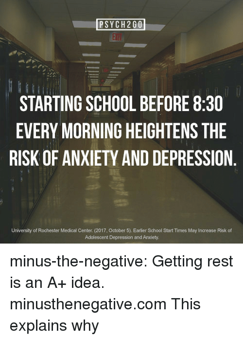 Depression And Anxiety: EA  STARTING SCHOOL BEFORE 8:30  EVERY MORNING HEIGHTENS THE  RISK OF ANXIETY AND DEPRESSION.  University of Rochester Medical Center. (2017, October 5). Earlier School Start Times May Increase Risk of  Adolescent Depression and Anxiety minus-the-negative:  Getting rest is an A+ idea.  minusthenegative.com  This explains why