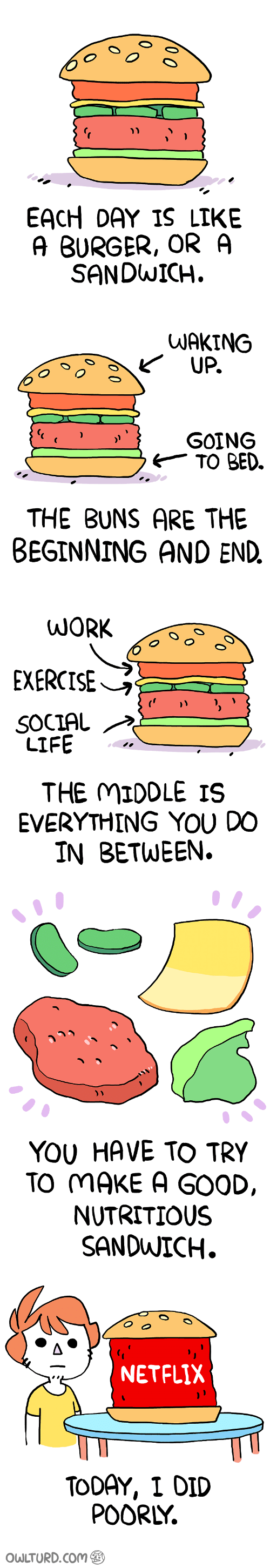 Life, Netflix, and Exercise: EACH DAY IS LIKE  A BURGER, OR A  SANDWICH.   WAKING  GOING  6TO BED.  THE BUNS ARE THE  BEGINNING AND END.   EXERCISE  SOCIAL  LIFE  THE MIDDLE IS  EVERYTHING YOU DO  IN BETWEEN.   YOU HAVE TO TRY  TO MAKE A GOOD,  NUTRITIOUS  SANDWICH.   NETFLIX  TODAY, I DID  POORLY.  OWLTURD.Com