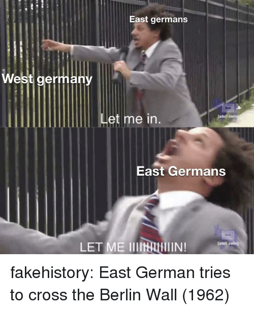 Et Me: East germans  West germany  et me  [adult swim  East Germans  LET ME IIIINAIN!  faduit swimj fakehistory:  East German tries to cross the Berlin Wall (1962)
