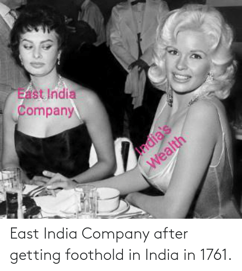east: East India Company after getting foothold in India in 1761.
