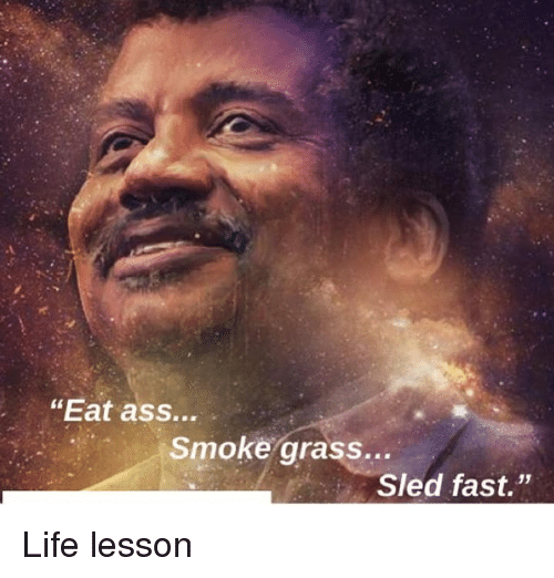 "Life Lesson: ""Eat ass...  Smoke grass...  Sled fast."" Life lesson"