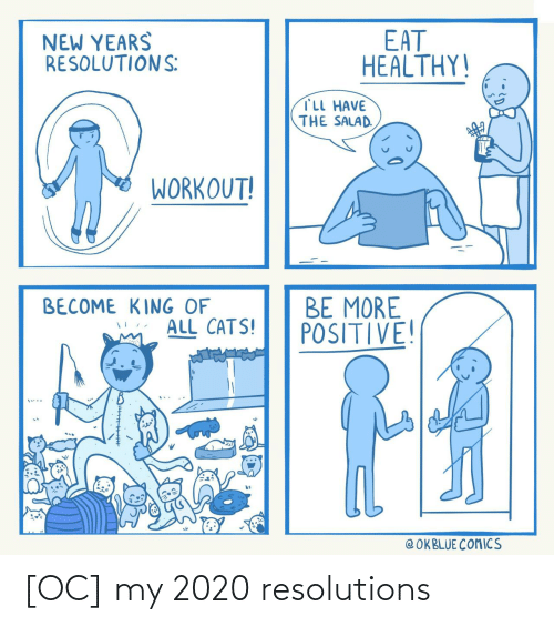 New Years: EAT  HEALTHY!  NEW YEARS  RESOLUTIONS:  TLL HAVE  THE SALAD.  WORKOUT!  BE MORE  POSITIVE!  BECOME KING OF  ALL CATS!  @ OKBLUE COMICS [OC] my 2020 resolutions
