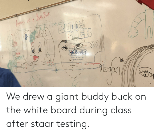 Staar: EBUDD We drew a giant buddy buck on the white board during class after staar testing.