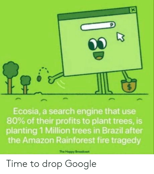 Amazon, Fire, and Google: $  Ecosia, a search engine that use  80% of their profits to plant trees, is  planting 1 Million trees in Brazil after  the Amazon Rainforest fire tragedy  The Hoppy Broodcost  X Time to drop Google