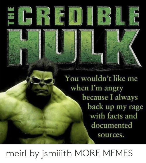 rage: ECREDIBLE  HULK  You wouldn't like me  when I'm angry  because I always  back up my rage  with facts and  documented  Sources. meirl by jsmiiith MORE MEMES