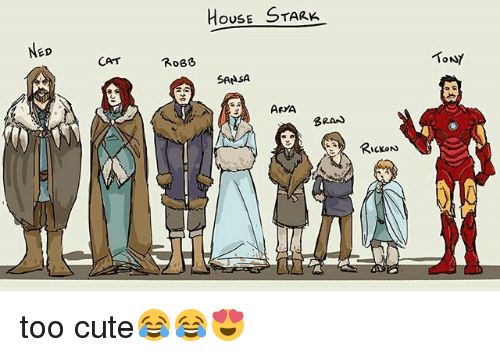 Cute, Memes, and House: ED  CAT  HOUSE  STARK  ROBB  SANSA  ARYA  BRAN  McKON  TONY too cute😂😂😍