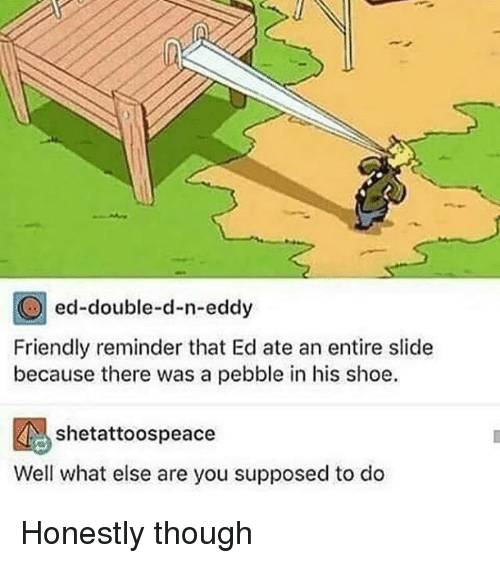 double d: ed-double-d-n-eddy  Friendly reminder that Ed ate an entire slide  because there was a pebble in his shoe.  shetattoospeace  Well what else are you supposed to do Honestly though