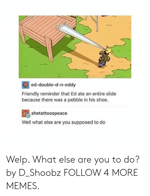 double d: ed-double-d-n-eddy  Friendly reminder that Ed ate an entire slide  because there was a pebble in his shoe  shetattoospeace  Well what else are you supposed to do Welp. What else are you to do? by D_Shoobz FOLLOW 4 MORE MEMES.
