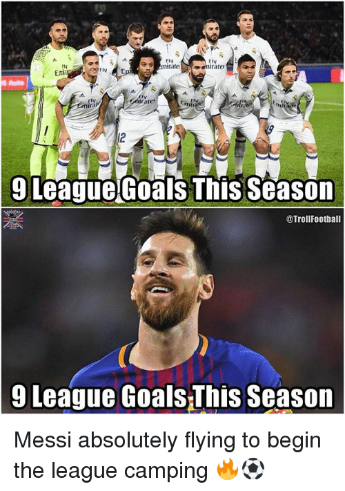 Goals, Memes, and Messi: ED  Fly  mirateenirates  ElV  EIV  Emi  rtV  rares  Iv  em  9 LeagueGoals This Season  @Trollfootball  9 League Goals-This Season Messi absolutely flying to begin the league camping 🔥⚽️