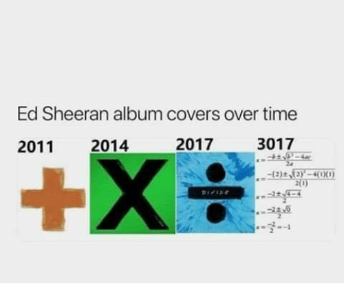 Memes, Ed Sheeran, and Covers: Ed Sheeran album covers over time  2011 2014  2017  3017  -(2),(2),一4(1)(1)