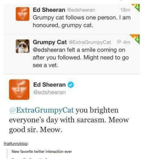 Grumpy Cats: Ed Sheeran Gedsheeran  18m  Grumpy cat follows one person. I am  honoured, grumpy cat.  Grumpy Cat ExtraGrumpyCat 4m  @edsheeran felt a smile coming on  after you followed. Might need to go  see a vet.  Ed Sheeran  @edsheeran  ExtraGrumpy Cat you brighten  everyone's day with sarcasm. Meow  good sir. Meow.  thatfunnyblo  New favorite twitter interaction ever
