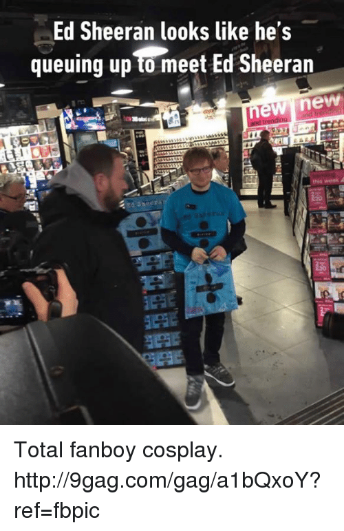 Dank, 🤖, and Eds: Ed Sheeran looks like he's  queuing up meet Ed Sheeran  new new  Sheera Total fanboy cosplay. http://9gag.com/gag/a1bQxoY?ref=fbpic