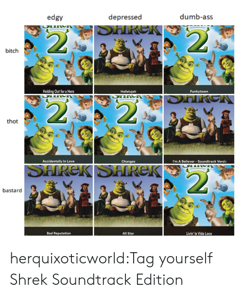 All Star, Ass, and Bad: edgy  depressed  dumb-ass  bitch  Holding Out for a Hero  Hallelujah  Funkytown  thot  Accidentally In Love  Changes  I'm A Believer - Soundtrack Versic  bastard  Bad Reputation  All Star  Livin' la Vida Loca herquixoticworld:Tag yourself Shrek Soundtrack Edition
