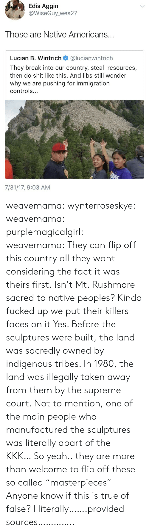 "indigenous: Edis Aggin  @WiseGuy_ wes27  Those are Native Americans...  Lucian B. Wintrich @lucianwintrich  They break into our country, steal resources,  then do shit like this. And libs still wonder  why we are pushing for immigration  controls...  7/31/17, 9:03 AM weavemama: wynterroseskye:   weavemama:  purplemagicalgirl:  weavemama: They can flip off this country all they want considering the fact it was theirs first. Isn't Mt. Rushmore sacred to native peoples? Kinda fucked up we put their killers faces on it  Yes. Before the sculptures were built, the land was sacredly owned by indigenous tribes. In 1980, the land was illegally taken away from them by the supreme court. Not to mention, one of the main people who manufactured the sculptures was literally apart of the KKK… So yeah.. they are more than welcome to flip off these so called ""masterpieces""    Anyone know if this is true of false?   I literally…….provided sources………….."