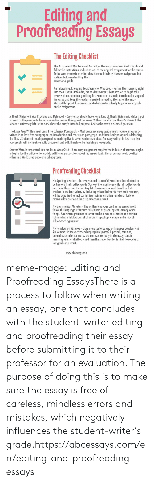 Put Forward: Editing and  Proofreading Essays   The Editing Checklist  The Assignment Was Followed Correctly - the essay. whatever kind it is, should  follow the instructions, inclusions, etc. of the original assignment for the course.  To be sure. the student-writer should reread their syllabus or assignment inst  ructions before submitting their  essay for a grade.  An Interesting, Engaging Topic Sentence Was Used - Rather than jumping right  into their Thesis Statement, the student-writer is best advised to begin their  essay with an attention-grabbing first sentence: it should introduce the scope of  the essay and keep the reader interested in reading the rest of the essay.  Without this pivotal sentence. the student-writer is likely to get a lower grade  on the assignment.  A Thesis Statement Was Provided and Defended -Every essay should have some kind of Thesis Statement. which is put  forward as the premise to be maintained or proved throughout the essay. Without an effective Thesis Statement. the  reader is ultimately left in the dark about the essay's intended purpose. And so the essay is deemed pointless.  The Essay Was Written in at Least Five Cohesive Paragraphs - Most academic essay assignments require an essay be  written in at least five paragraphs: an introduction and conclusion paragraph. and three body paragraphs defending  the Thesis Statement - each paragraph comprising five to seven sentences a piece. An essay written in less than five  paragraphs will not make a valid argument and will, therefore. be receiving a low grade.  Sources Were Incorporated into the Essay Were Cited - If an essay assignment requires the inclusion of sources. maybe  to legitimize the artide or to provide additional perspectives about the essay's topic. these sources should be cited.  either in a Work Cited page or a Bibliography.   Proofreading Checklist  No Spelling Mistakes - the essay should be carefully read and fact-checked to  be free of all misspelled words. Some