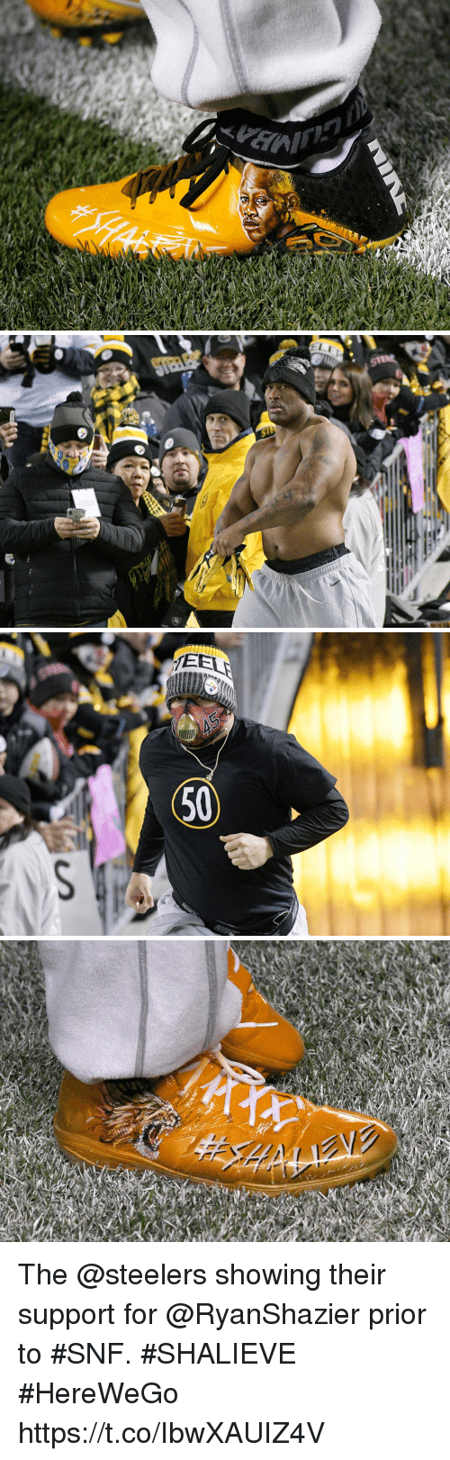 Memes, Steelers, and 🤖: EEL  50 The @steelers showing their support for @RyanShazier prior to #SNF. #SHALIEVE #HereWeGo https://t.co/IbwXAUIZ4V