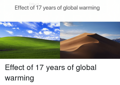 Global Warming, Effect, and  Years: Effect of 17 years of global warming