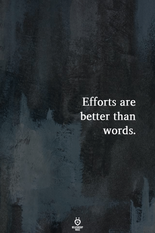 Efforts: Efforts are  better than  words.  RELATIONSHIP  LES