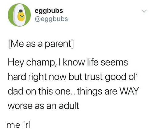 Dad, Life, and Good: eggbubs  @eggbubs  [Me as a parent]  Hey champ, I know life seems  hard right now but trust good ol'  dad on this one.. things are WAY  worse as an adult me irl