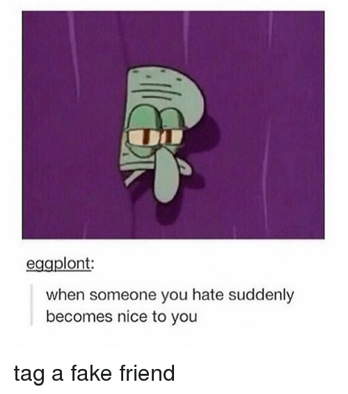 Fake, Memes, and Nice: eggplont:  when someone you hate suddenly  becomes nice to you tag a fake friend