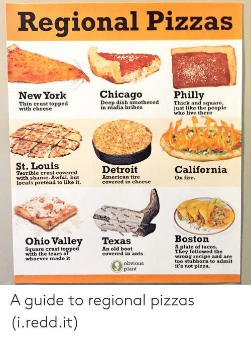 Detroit, Fire, and New York: egional Pizzas  New York  Philly  Thin crust topped  with cheese  Deep dish smothered  n mafia bribes  Thick and square  just like the people  who live there  St. Louis  Terrible crust covered  with shame. Awful, but  locals pretend to like it.  Detroit  American tire  covered in cheese  California  On fire.  Ohio Valley Texas  Bostorn  Square crust topped  with the tears of  whoever made it  A plate of tacos.  They followed the  wrong recipe and are  too stubborn to admit  it's not pizza.  An old boot  covered in ants  obvious  plant A guide to regional pizzas (i.redd.it)