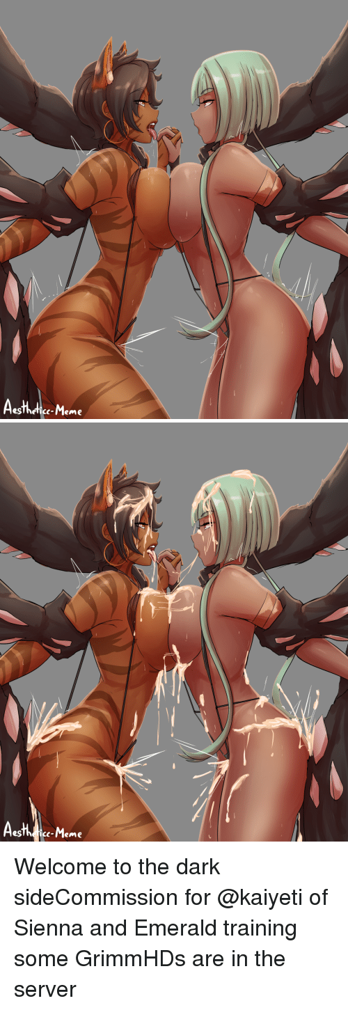 Gg, Meme, and Target: egThefice-Meme   c-Meme Welcome to the dark sideCommission for @kaiyeti of Sienna and Emerald training some GrimmHDs are in the server