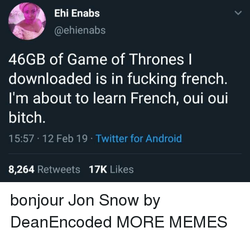 Android, Bitch, and Dank: Ehi Enabs  @ehienabs  46GB of Game of Thrones l  downloaded is in fucking french  I'm about to learn French, oui oui  bitch.  15:57 12 Feb 19 Twitter for Android  8,264 Retweets 17K Likes bonjour Jon Snow by DeanEncoded MORE MEMES