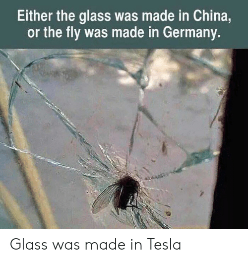 In Germany: Either the glass was made in China,  or the fly was made in Germany. Glass was made in Tesla