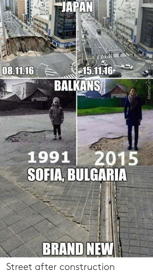 Construction, Bulgaria, and Brand New: EJAPAN  08.11.1615.1116  BALKANS  1991 2015  SOFIA, BULGARIA  BRAND NEW Street after construction