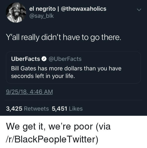 Bill Gates, Blackpeopletwitter, and Life: el negrito | @thewaxaholics  @say_blk  Y'all really didn't have to go there.  UberFacts @UberFacts  Bill Gates has more dollars than you have  seconds left in your life.  9/25/18,_4:46 AM  3,425 Retweets 5,451 Like:s We get it, we're poor (via /r/BlackPeopleTwitter)