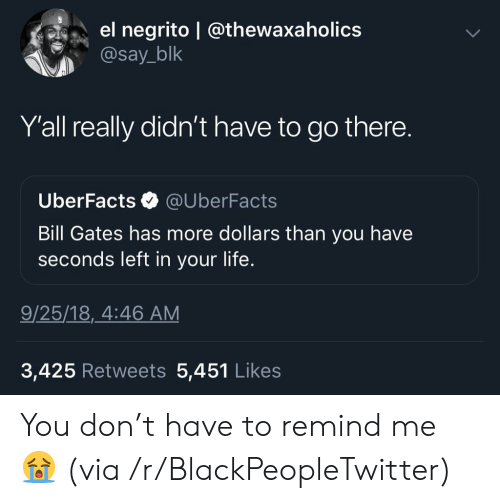 Bill Gates, Blackpeopletwitter, and Life: el negrito | @thewaxaholics  @say_blk  Yall really didn't have to go there.  UberFacts  @UberFacts  Bill Gates has more dollars than you have  seconds left in your life.  9/25/18, 4:46 AM  3,425 Retweets 5,451 Likes You don't have to remind me ? (via /r/BlackPeopleTwitter)