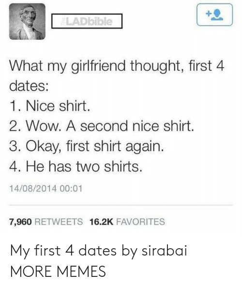 Dank, Memes, and Target: ELADbible  What my girlfriend thought, first 4  dates:  1. Nice shirt.  2. Wow. A second nice shirt.  3. Okay, first shirt again.  4. He has two shirts.  14/08/2014 00:01  7,960 RETWEETS 16.2K FAVORITES My first 4 dates by sirabai MORE MEMES
