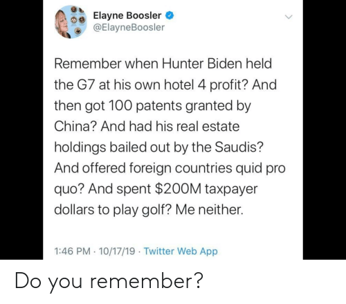 Bailed Out: Elayne Boosler  @ElayneBoosler  Remember when Hunter Biden held  the G7 at his own hotel 4 profit? And  then got 100 patents granted by  China? And had his real estate  holdings bailed out by the Saudis?  And offered foreign countries quid pro  quo? And spent $200M taxpayer  dollars to play golf? Me neither.  1:46 PM 10/17/19 Twitter Web App Do you remember?