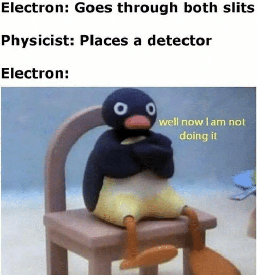 Now, Physicist, and Well: Electron: Goes through both slits  Physicist: Places a detector  Electron:  well now I am not  doing it