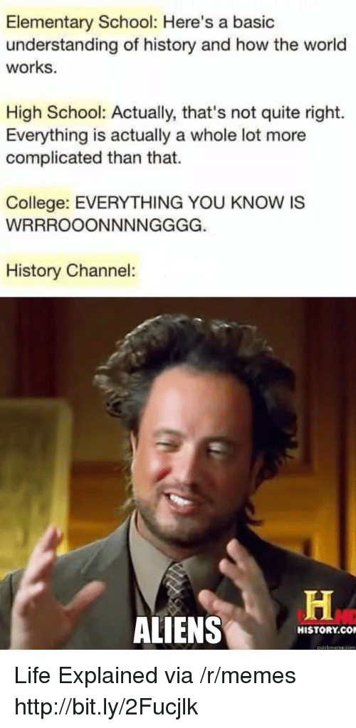 College, Life, and Memes: Elementary School: Here's a basic  understanding of history and how the world  works.  High School: Actually, that's not quite right.  Everything is actually a whole lot more  complicated than that.  College: EVERYTHING YOU KNOW IS  History Channel:  ALIENS  HISTORY.CO  quickmeme.com Life Explained via /r/memes http://bit.ly/2Fucjlk