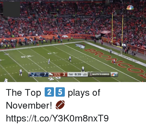 Memes, 🤖, and Top: ELEVATIONS2  NE 7DEN3  1st 8:39  SALUTE TO SERVICE The Top 2️⃣5️⃣ plays of November! 🏈 https://t.co/Y3K0m8nxT9