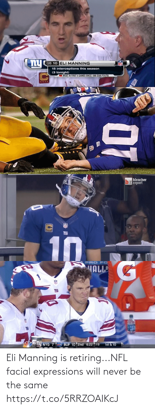 Never Be: Eli Manning is retiring...NFL facial expressions will never be the same https://t.co/5RRZOAIKcJ