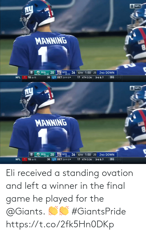 left: Eli received a standing ovation and left a winner in the final game he played for the @Giants. 👏👏 #GiantsPride https://t.co/2fk5Hn0DKp
