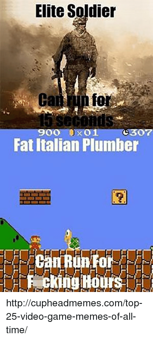 video game memes: Elite Soldier  fo  900 0x01 (:307  Fat Italian Plumber  0  Pecking Hours http://cupheadmemes.com/top-25-video-game-memes-of-all-time/