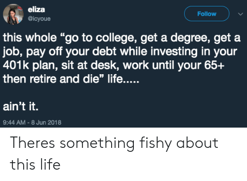 "College, Life, and Work: eliza  @icyoue  Follow  this whole ""go to college, get a degree, get a  job, pay off your debt while investing in your  401k plan, sit at desk, work until your 65+  then retire and die"" life....  ain't it.  9:44 AM-8 Jun 2018 Theres something fishy about this life"